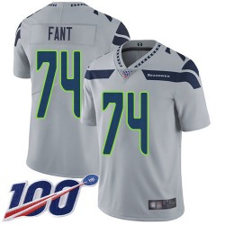 Limited Men's George Fant Grey Alternate Jersey - #74 Football Seattle Seahawks 100th Season Vapor Untouchable