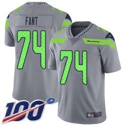 Limited Men's George Fant Silver Jersey - #74 Football Seattle Seahawks 100th Season Inverted Legend