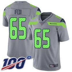 Limited Men's Germain Ifedi Silver Jersey - #65 Football Seattle Seahawks 100th Season Inverted Legend