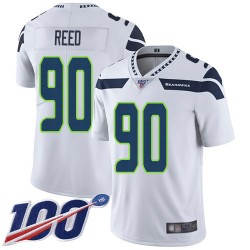 Limited Men's Jarran Reed White Road Jersey - #90 Football Seattle Seahawks 100th Season Vapor Untouchable