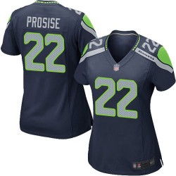 Game Women's C. J. Prosise Navy Blue Home Jersey - #22 Football Seattle Seahawks