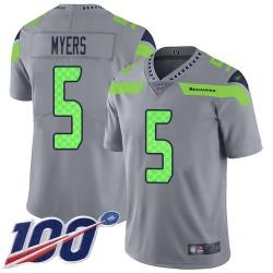Limited Men's Jason Myers Silver Jersey - #5 Football Seattle Seahawks 100th Season Inverted Legend