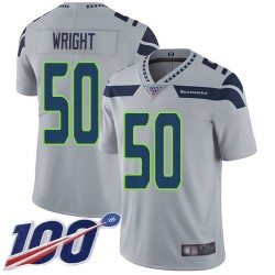 Limited Men's K.J. Wright Grey Alternate Jersey - #50 Football Seattle Seahawks 100th Season Vapor Untouchable
