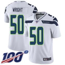 Limited Men's K.J. Wright White Road Jersey - #50 Football Seattle Seahawks 100th Season Vapor Untouchable