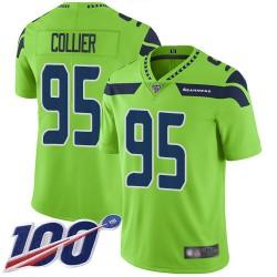 Limited Men's L.J. Collier Green Jersey - #95 Football Seattle Seahawks 100th Season Rush Vapor Untouchable