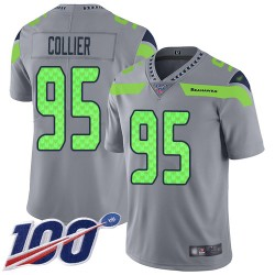 Limited Men's L.J. Collier Silver Jersey - #95 Football Seattle Seahawks 100th Season Inverted Legend