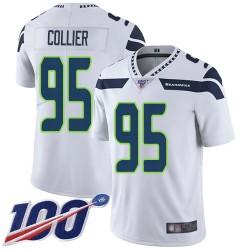 Limited Men's L.J. Collier White Road Jersey - #95 Football Seattle Seahawks 100th Season Vapor Untouchable