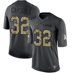 Limited Men's Chris Carson Black Jersey - #32 Football Seattle Seahawks 2016 Salute to Service