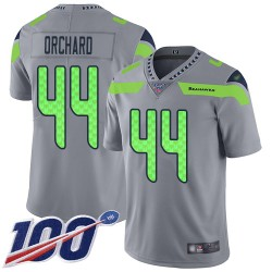 Limited Men's Nate Orchard Silver Jersey - #44 Football Seattle Seahawks 100th Season Inverted Legend