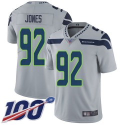 Limited Men's Nazair Jones Grey Alternate Jersey - #92 Football Seattle Seahawks 100th Season Vapor Untouchable