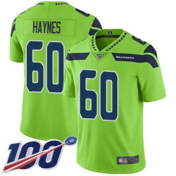 Limited Men's Phil Haynes Green Jersey - #60 Football Seattle Seahawks 100th Season Rush Vapor Untouchable