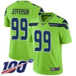 Limited Men's Quinton Jefferson Green Jersey - #99 Football Seattle Seahawks 100th Season Rush Vapor Untouchable