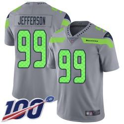Limited Men's Quinton Jefferson Silver Jersey - #99 Football Seattle Seahawks 100th Season Inverted Legend
