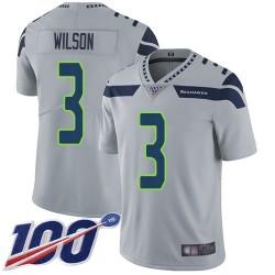 Limited Men's Russell Wilson Grey Alternate Jersey - #3 Football Seattle Seahawks 100th Season Vapor Untouchable