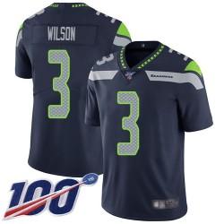 Limited Men's Russell Wilson Navy Blue Home Jersey - #3 Football Seattle Seahawks 100th Season Vapor Untouchable