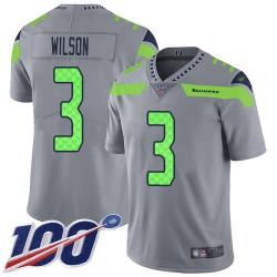 Limited Men's Russell Wilson Silver Jersey - #3 Football Seattle Seahawks 100th Season Inverted Legend