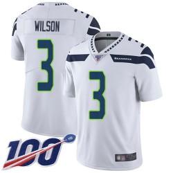 Limited Men's Russell Wilson White Road Jersey - #3 Football Seattle Seahawks 100th Season Vapor Untouchable