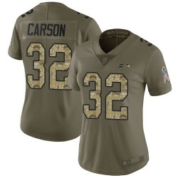 Limited Women's Chris Carson Olive/Camo Jersey - #32 Football Seattle Seahawks 2017 Salute to Service