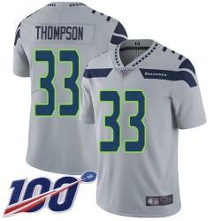 Limited Men's Tedric Thompson Grey Alternate Jersey - #33 Football Seattle Seahawks 100th Season Vapor Untouchable