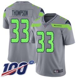 Limited Men's Tedric Thompson Silver Jersey - #33 Football Seattle Seahawks 100th Season Inverted Legend