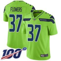 Limited Men's Tre Flowers Green Jersey - #37 Football Seattle Seahawks 100th Season Rush Vapor Untouchable