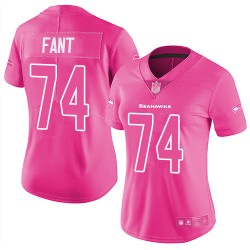 Limited Women's George Fant Pink Jersey - #74 Football Seattle Seahawks Rush Fashion