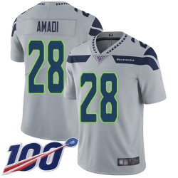 Limited Men's Ugo Amadi Grey Alternate Jersey - #28 Football Seattle Seahawks 100th Season Vapor Untouchable