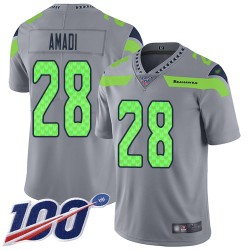 Limited Men's Ugo Amadi Silver Jersey - #28 Football Seattle Seahawks 100th Season Inverted Legend