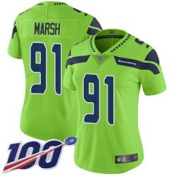 Limited Women's Cassius Marsh Green Jersey - #91 Football Seattle Seahawks 100th Season Rush Vapor Untouchable