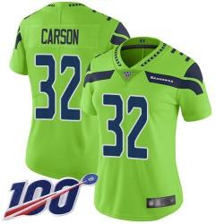 Limited Women's Chris Carson Green Jersey - #32 Football Seattle Seahawks 100th Season Rush Vapor Untouchable