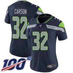 Limited Women's Chris Carson Navy Blue Home Jersey - #32 Football Seattle Seahawks 100th Season Vapor Untouchable