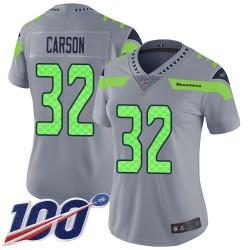 Limited Women's Chris Carson Silver Jersey - #32 Football Seattle Seahawks 100th Season Inverted Legend