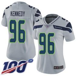 Limited Women's Cortez Kennedy Grey Alternate Jersey - #96 Football Seattle Seahawks 100th Season Vapor Untouchable