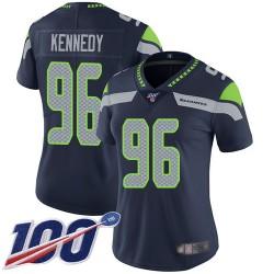 Limited Women's Cortez Kennedy Navy Blue Home Jersey - #96 Football Seattle Seahawks 100th Season Vapor Untouchable