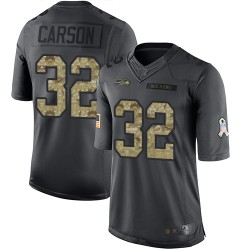 Limited Youth Chris Carson Black Jersey - #32 Football Seattle Seahawks 2016 Salute to Service