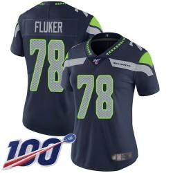 Limited Women's D.J. Fluker Navy Blue Home Jersey - #78 Football Seattle Seahawks 100th Season Vapor Untouchable