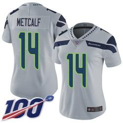 Limited Women's D.K. Metcalf Grey Alternate Jersey - #14 Football Seattle Seahawks 100th Season Vapor Untouchable