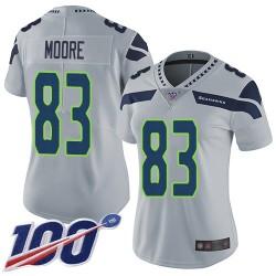 Limited Women's David Moore Grey Alternate Jersey - #83 Football Seattle Seahawks 100th Season Vapor Untouchable