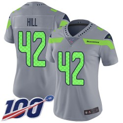 Limited Women's Delano Hill Silver Jersey - #42 Football Seattle Seahawks 100th Season Inverted Legend