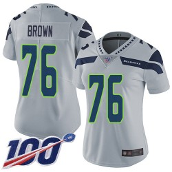 Limited Women's Duane Brown Grey Alternate Jersey - #76 Football Seattle Seahawks 100th Season Vapor Untouchable