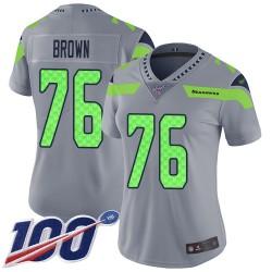 Limited Women's Duane Brown Silver Jersey - #76 Football Seattle Seahawks 100th Season Inverted Legend