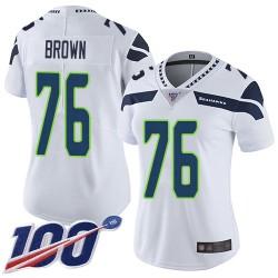 Limited Women's Duane Brown White Road Jersey - #76 Football Seattle Seahawks 100th Season Vapor Untouchable