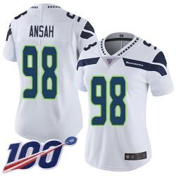 Limited Women's Ezekiel Ansah White Road Jersey - #98 Football Seattle Seahawks 100th Season Vapor Untouchable