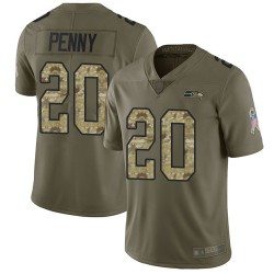 Limited Youth Rashaad Penny Olive/Camo Jersey - #20 Football Seattle Seahawks 2017 Salute to Service