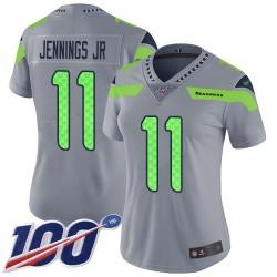 Limited Women's Gary Jennings Jr. Silver Jersey - #11 Football Seattle Seahawks 100th Season Inverted Legend