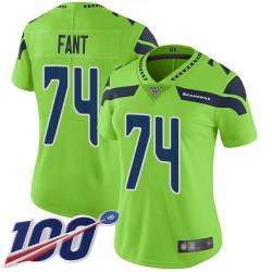 Limited Women's George Fant Green Jersey - #74 Football Seattle Seahawks 100th Season Rush Vapor Untouchable