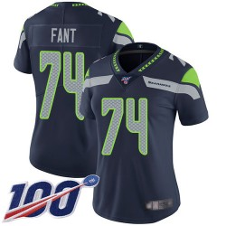 Limited Women's George Fant Navy Blue Home Jersey - #74 Football Seattle Seahawks 100th Season Vapor Untouchable