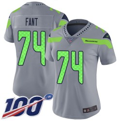 Limited Women's George Fant Silver Jersey - #74 Football Seattle Seahawks 100th Season Inverted Legend