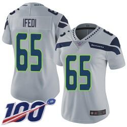 Limited Women's Germain Ifedi Grey Alternate Jersey - #65 Football Seattle Seahawks 100th Season Vapor Untouchable