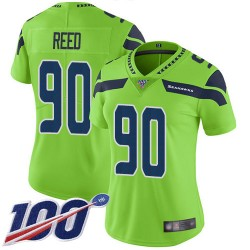 Limited Women's Jarran Reed Green Jersey - #90 Football Seattle Seahawks 100th Season Rush Vapor Untouchable